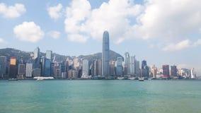 Panorama-Zeitspanne China zentraler Hong Kong-Skyline städtische Runde metallische Knöpfe stock video