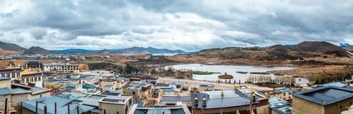 Panorama of Zhongdian city( Shangri-La)in china. View from Songzanlin Temple Royalty Free Stock Photography