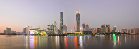Panorama of Zhujiang new town at dusk Royalty Free Stock Images