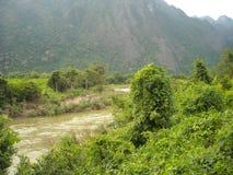 Panorama zieleniści wzgórza w Azja Południowo-Wschodnia Obraz Stock