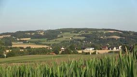 Panorama zielone góry z małymi domami zbiory wideo