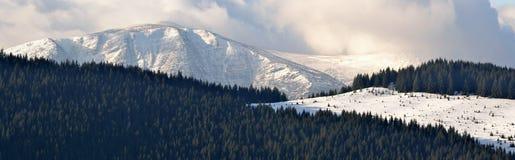 Panorama zima krajobraz w górach Zdjęcia Stock