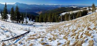 Panorama zima krajobraz w górach Zdjęcie Stock