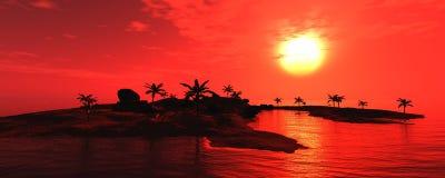 Panorama zmierzch na morzu Wyspa seascape Palmy Obraz Stock