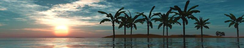 Panorama zmierzch na morzu Wyspa seascape Palmy Obrazy Royalty Free