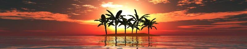 Panorama zmierzch na morzu Wyspa seascape Palmy Fotografia Royalty Free