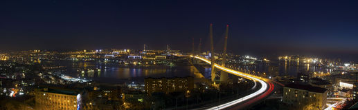 Panorama of Zolotoy Rog bay, Vladivostok. Night panorama of Zolotoy Rog bay, Vladivostok, Russia Royalty Free Stock Images