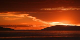 Panorama - zonsondergang Stock Foto's