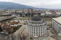 Panorama zur Stadt von Skopje von der Festung Kohlfestung in der alten Stadt, Repub stockfoto