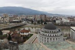 Panorama zur Stadt von Skopje von der Festung Kohlfestung in der alten Stadt, Repub stockfotos