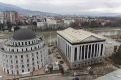 Panorama zur Stadt von Skopje von der Festung Kohlfestung in der alten Stadt, Repub lizenzfreie stockbilder