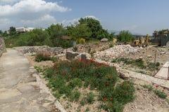 Panorama zur Stadt von Skopje von der Festung Kohlfestung in der alten Stadt, Republik von Lizenzfreie Stockfotografie