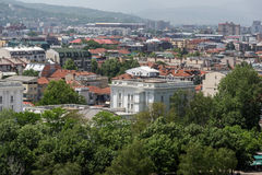 Panorama zur Stadt von Skopje von der Festung Kohlfestung in der alten Stadt, Republik von Stockfoto