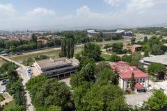 Panorama zur Stadt von Skopje von der Festung Kohlfestung in der alten Stadt, Republik von Lizenzfreies Stockfoto