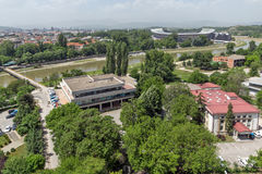 Panorama zur Stadt von Skopje von der Festung Kohlfestung in der alten Stadt, Republik von Stockfotografie