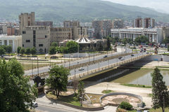 Panorama zur Stadt von Skopje von der Festung Kohlfestung in der alten Stadt, Republik von Lizenzfreies Stockbild