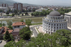 Panorama zur Stadt von Skopje von der Festung Kohlfestung in der alten Stadt, Republik von Lizenzfreie Stockbilder
