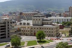 Panorama zur Stadt von Skopje von der Festung Kohlfestung in der alten Stadt, Republik von Stockbilder