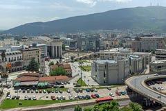 Panorama zur Stadt von Skopje von der Festung Kohlfestung in der alten Stadt, Republik von Stockbild