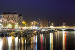 Panorama of Zurich at night Royalty Free Stock Images