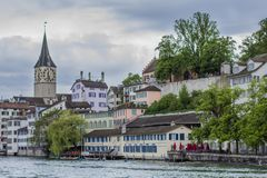 Panorama of Zurich. View of the Cathedral of St. Peter in Zurich. View of the Old Town in Zurich. stock photos