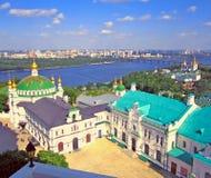 Panoramaansicht Kiew Pechersk Lavra Christliches Kloster, orthodoxe Kirchen Lizenzfreie Stockfotos