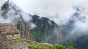 Panoramaansicht Machu Picchu zu den Ruinen und zu den Bergen lizenzfreies stockbild