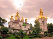 Panoramaansicht nach Kiew Pechersk Lavra mit Glockenturm UNESCO-Welterbe Lizenzfreie Stockfotos