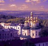 Panoramaansicht nach Kiew Pechersk Lavra Violetter Sonnenuntergang, UNESCO-Welterbe Lizenzfreies Stockbild