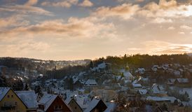 Panoramaansicht Seiffen in Winter Erzberge Sachsens Deutschland bei Sonnenaufgang Lizenzfreie Stockbilder