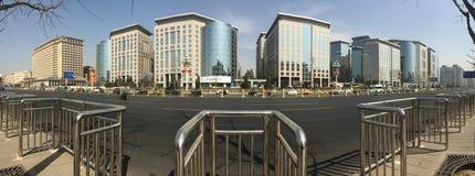 Panoramaansicht von Einkaufsstraße Pekings Dongdan Stockfotografie
