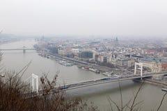 Panoramaansicht von Gellért-Hügel Lizenzfreies Stockfoto