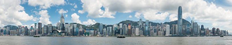 Panoramaansicht von Hong Kong-Skylinen Stockfotos