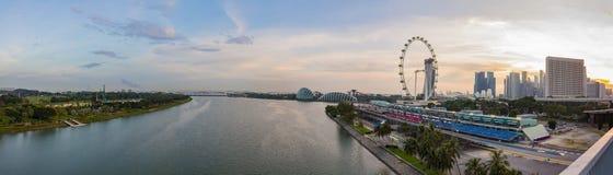Panoramaansicht von Marina Bay Hohe Ansicht von Singapur-Stadt, Jachthafen Lizenzfreie Stockfotografie
