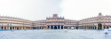 Panoramaansicht von Piazza-Bürgermeister in Salamanca, Kastilien y Leon, Spai Lizenzfreie Stockfotografie