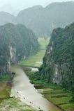 Panoramaansicht von Reisfeldern und -kalkstein schaukelt von Hang Mua Stockfoto