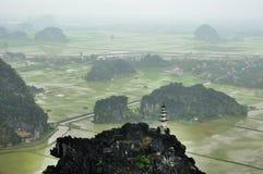 Panoramaansicht von Reisfeldern, von Felsen und von Bergspitzenpagode Stockfotografie