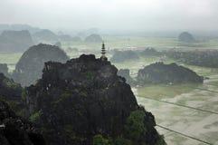 Panoramaansicht von Reisfeldern, von Felsen und von Bergspitzenpagode Stockbild