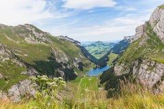 Panoramaansicht von Seealpsee (See) und von Alpen Lizenzfreies Stockfoto