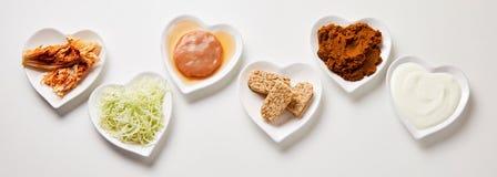 Panoramabanner van gezond vergist voedsel stock afbeelding
