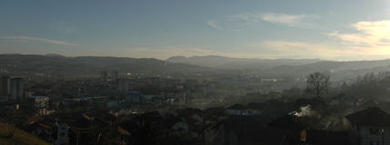 Panoramabeeld van Doboj, Bosnia-Hercegovina Stock Afbeelding