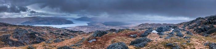 Panoramabild der schottischen Hochländer lizenzfreies stockbild