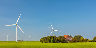 Panoramabild eines niederländischen Bauernhofes mit Windkraftanlagen Stockfotografie