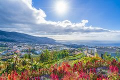 Panoramablick über Funchal, von Pico DOS Barcelos, Madeira-Insel, Portugal stockfotografie