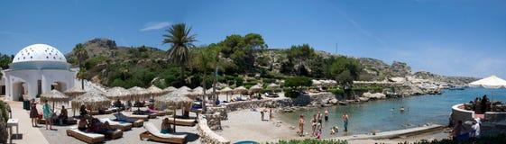 Panoramablick über Kallithea-Bucht auf griechischer Insel Rhodos, Griechenland Lizenzfreies Stockbild
