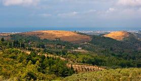 Panoramablick über offener Landschaft Stockbild