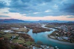 Panoramablick in Albanien von Rozafa-Schloss in Shkoder, Shkodra stockfotos