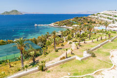 Panoramablick auf dem Bodrum-Strand Lizenzfreies Stockfoto