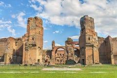 Panoramablick auf dem zentralen Teil alten Roman Bathss von Caracalla (Thermae Antoninianae) Stockfoto