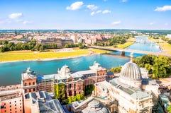 Panoramablick auf Dresden von der Spitze der Kirche Frauenkirche lizenzfreie stockfotos